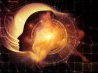 Profiles of Destiny series. Backdrop of astrology symbols, human profile lines, circles and design elements on the subject of astrology,magic, witchcraft and fortune telling